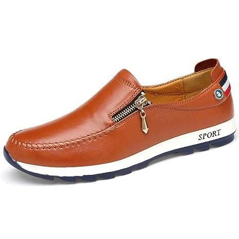 YAN Mocasines Planos de Cuero del Zapato Ocasional de los Hombres Deslizamiento de la Moda en