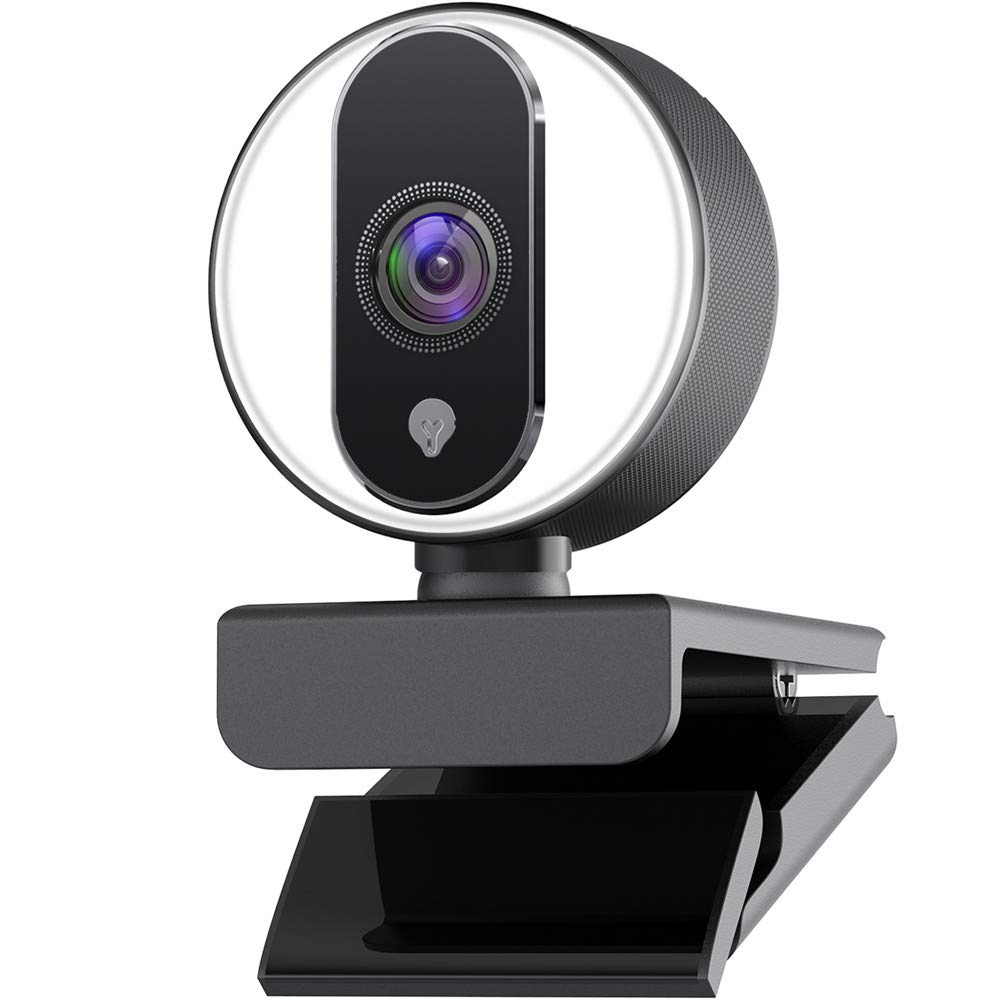 Webcam for Streaming HD 1080P Built in Adjustable Ring Light, Autofocus USB Computer Web Camera for Chatting Gaming Live Video Skype, Web Cam Compatible Mac PC Laptop Desktop Xbox ONE