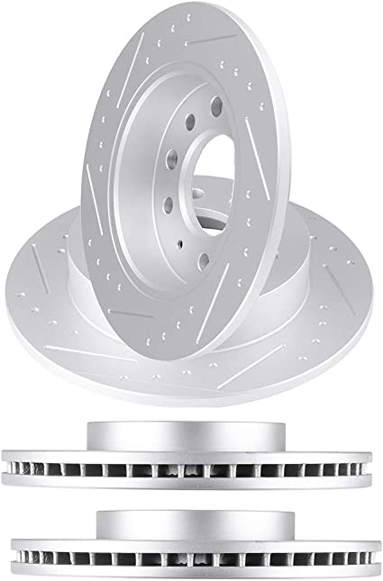 for Hyundai Tiburon GT Front+Rear Drilled Rotors /& Ceramic Pads 2004-2005 SE