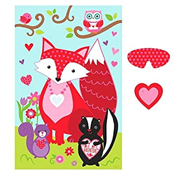 U0026quot;Valentines Dayu0026quot; Pin The Heart On The Fox Party Game