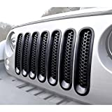 jeep wrangler radiator guard - (Upgrade Clip in Version) Allinoneparts Matte Black Grill Guard Grille Mesh Inserts For Jeep Wrangler Rubicon Sahara Sport JK Accessories 2007-2015 (Pack of 7 Pcs Set, Without Hole Kit)