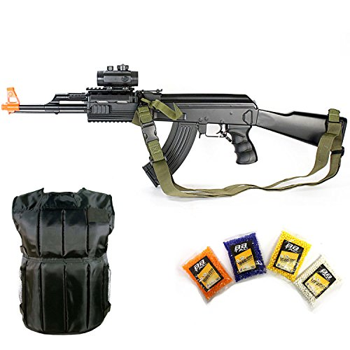 Starter Pack - CM023 KP5 Electric Airsoft Gun, 4000 bb & Protection Vest