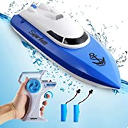 Remote Control Boats for Pools and Lakes,12+ mph High Speed RC Boat with Rechargeable Battery, 2.4 GHz Outdoor