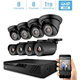 Amcrest UltraHD 4-Megapixel 8CH Video Security System with Eight 4.0MP Outdoor IP67 Plastic Bullet & Dome Cameras, 98ft Night Vision, Pre-Installed 1TB Hard Drive, (AMDV40M8-4B4D-B)