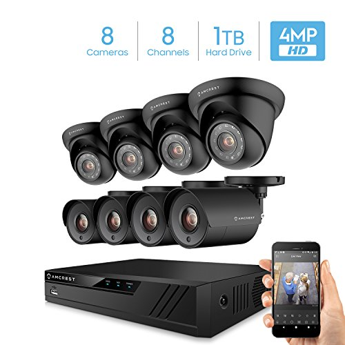 Amcrest UltraHD 4MP 16CH Home Security Camera System with 8 x 4-Megapixel Weatherproof Outdoor Security Cameras, 4MP DVR w/Pre-Installed 1TB Hard Drive, Night Vision, BNC Cables (AMDV40M8-4B4D-B)