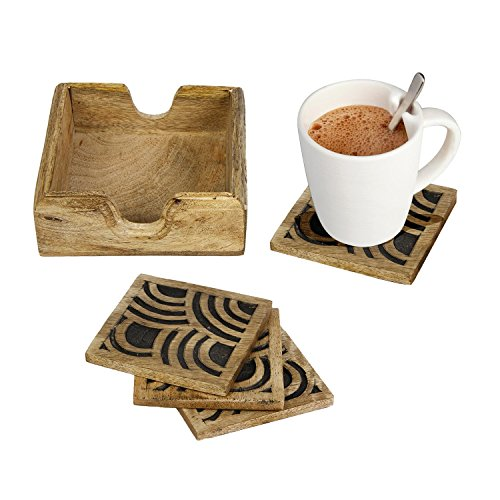 Icrafts Wooden Coasters Set of 6 Drink Coaster for Tea Cups Coffee Mugs Wine (Vintage Tea Cups Cheap)