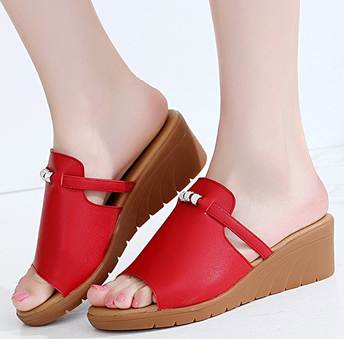 Rouge Easemax Ouvert Enfiler Mules A Femme Mode Bout xqanwZ0Aq