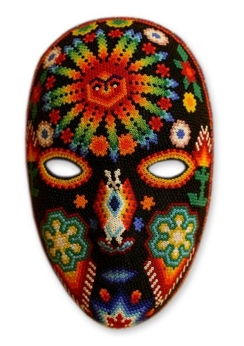 Huichol Mask (NOVICA Decorative Huichol Papier Mache Mask, Multicolor 'Father Sun')
