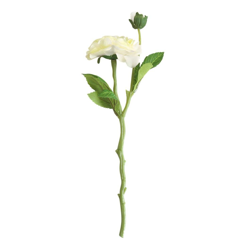 Artificial Flowers,Silk Daisy Rose, BCDshop Fake Bouquet for Grave Home Wedding Decoration (White)