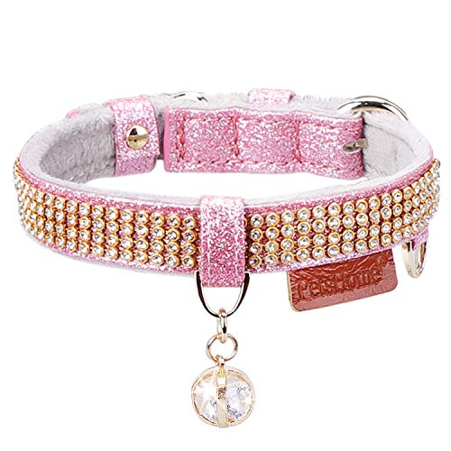 PetsHome Cat Collar, Dog Collar, [Bling Rhinestones] Premium PU Leather with Pendant Adjustable Collars for Small Dog and Cat Small Pink