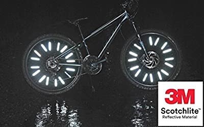 Bike Reflectors Jusmar Pack of 36 - Bicycle Wheel Reflectors for Mountain and Road Bikes - Kids Bike Reflector - Waterproof Spoke Reflectors