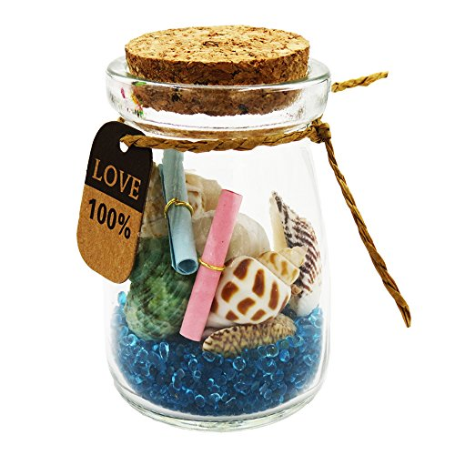 Running Ant Natural Seashells in a Bottle With Conch Message Letter Beach Seashells Jar Mini Wish Glass Bottle with Cork