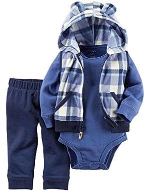 Carter's Baby Boys Plaid Fleece Vest Set - Blue