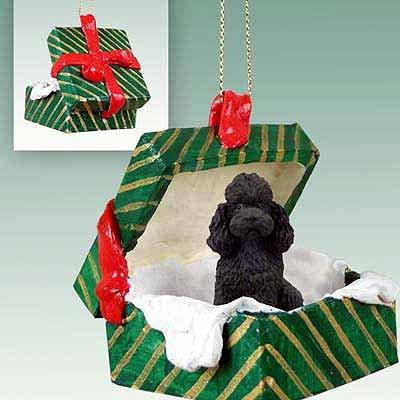 Poodle Sportcut Green Gift Box Dog Ornament - Black