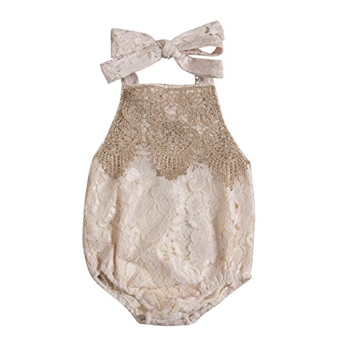 Romper Lace Romper (Aliven Newborn Infant Baby Girl Clothes Lace Halter Backless Jumpsuit Romper Bodysuit Sunsuit Outfits Set)