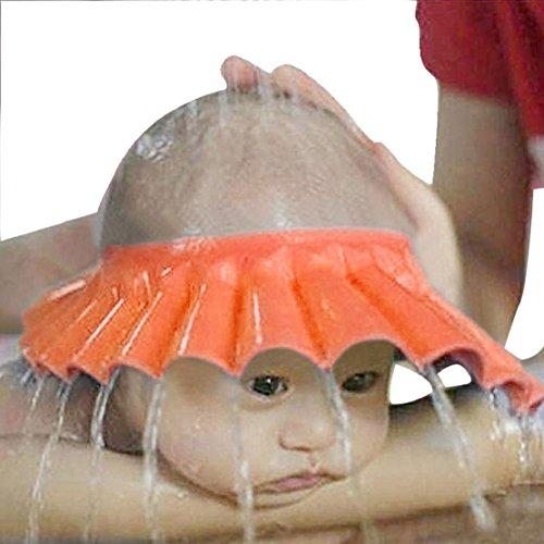 Tonsee für Baby-Shampoo-Bad Baden Dusche schützen passen Sie weiche Kappe Hut (orange)