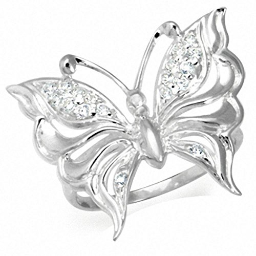 White Cubic Zirconia (CZ) 925 Sterling Silver Filigree Butterfly Ring Size 7 ()