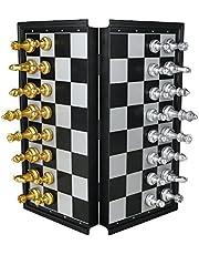 TONZE Ajedrez Magnetico Juegos de Mesa Tablero de Ajedrez con Caja Set Ajedrez Magnetico Plegable Fácil Llevar para Viajar Juego Ajedrez para Niños Infantil Adulto, 25 x 25 cm