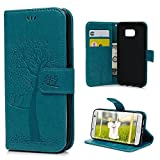 S7 Edge Case Wallet, KASOS Embossed Two Owls Tree PU Leather Wallet Case TPU Inner Magnetic Front Closure Kickstand Card Holders & Hand Strap Bumper Cover for Samsung - Blue