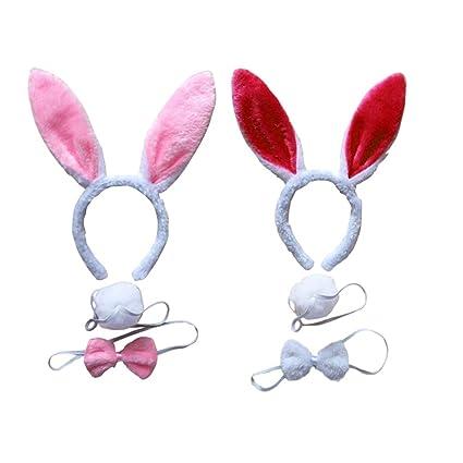 Lurrose 2 juegos de disfraz de conejito orejas de conejo diadema ...