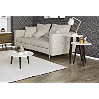 Manhattan Comfort Carmine Collection Mid Century Modern Accent Round End Tables With Splayed Legs, 3 Piece Set, White/Wood