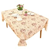 Vintage Flower Decorative Square Linen Tablecloth by HIGHFLY - Printed Pattern Washable Table cloth Dinner Home Decor - Multi Colors & Sizes