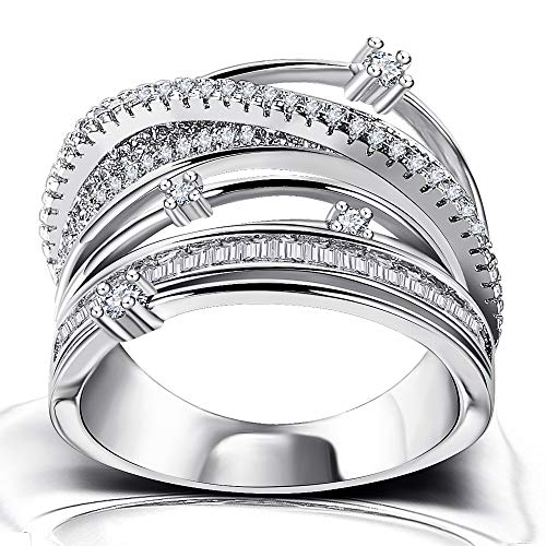 Platinum Plated Cocktail Statement Ring - Intertwined Crossover Cubic Zirconia Wide Wedding Band Rings for Women Girls
