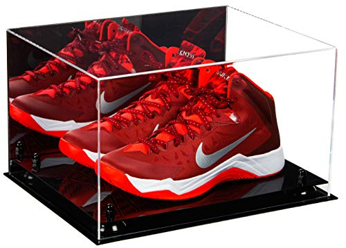 Deluxe Acrylic Basketball Shoe Pair Display Case with Black Risers and Mirror ()