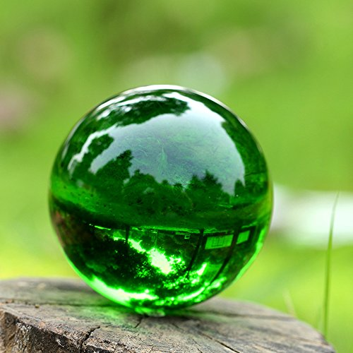 H&D 80mm Green Crystal Ball with Stand, 3.15