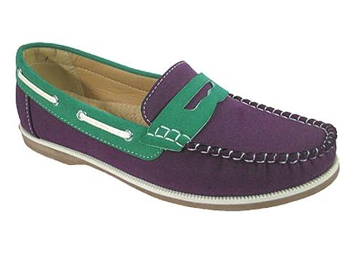 Mujer Coolers Nobuk Falso Mocasines Piel Con Cordones Zapatos Náuticos Tallas 4 - 8 - Rosa/Azul marino/Beige, 38 EU