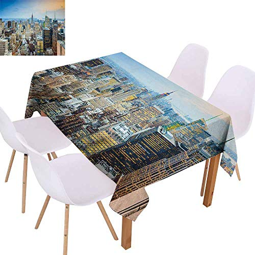 UHOO2018 American,Dust-Proof Tablecloth,New York City Aerial with Skyscrapers Manhattan Urban Architecture Panorama,for Kitchen Dinning Decoration,Silver Blue Peach,70