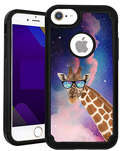 SunCases Hybrid Case for iPhone 5/SE/5S - Galaxy Giraffe Hard Anti Scratch Resistance with Full Protection Cover (Giraffe Phone Jack)