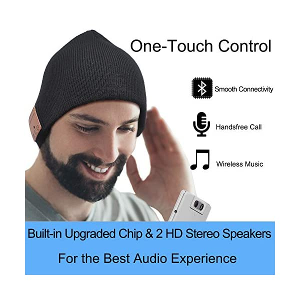 Upgraded Bluetooth Beanie Hat Wireless Headphones Headset Music Hat Winter Knit Cap with Stereo Speakers & Microphone Unique Christmas Tech Gifts for Women Mom Her Men Teen Boys Girls