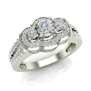 1.00 ct tw Three Stone Split Shank Wide look Anniversary Engagement Ring 14K Gold (G,SI)
