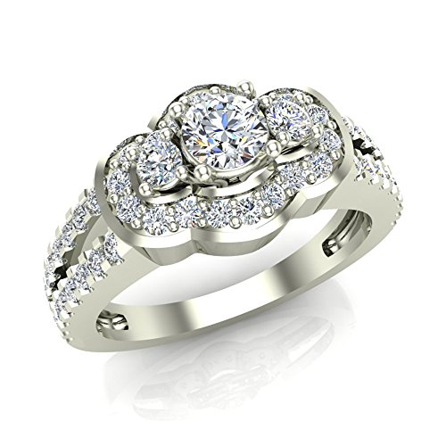 1.03 Ct Tw Three Stone Split Shank Wide Look Anniversary Engagement Ring 14K Gold (G,SI)
