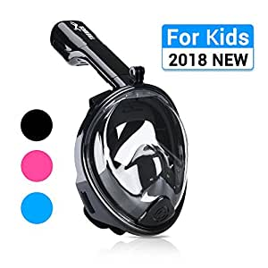 Snorkel Mask, 180° Panoramic Full Face Design with Larger Viewing Area - Easier Breathing, for Both Kids and Adult (Kids Black, XS - for 4-11 Years Old Kids)