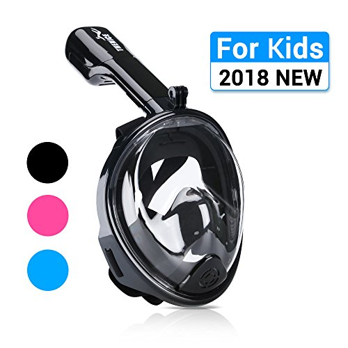 AiScrofa Snorkel Mask, 180° Panoramic Full Face Design Larger Viewing Area - Easier Breathing Both Kids Adult (Kids Black, XS 4-11 years old (Warrior Full Face)