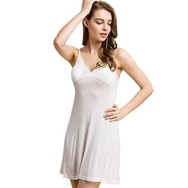 1e8f490510c16 Hoffen Womens V-Neck 100% Silk Full Slips Smooth Sleepwear Underdress with  Bra (