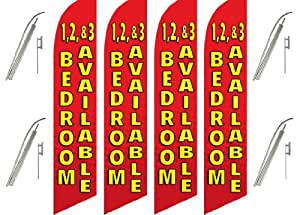 Four (4) Pack Swooper Flags & Pole Kits 1,2,&3 BEDROOM AVAILABLE Red & Yellow