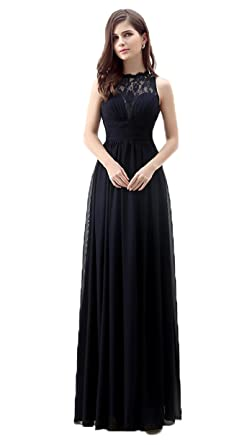 Annas Bridal Womens Chiffon Lace Evening Gowns Long Prom Dresses Black UK6
