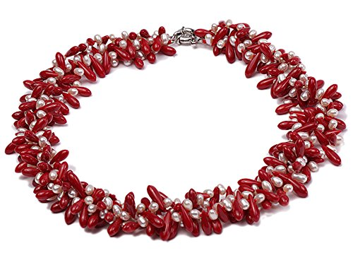 JYX Pearl Necklace Four-Strand 4x6mm White Freshwater Pearl and Red Coral Beads Necklace for Women 20.5
