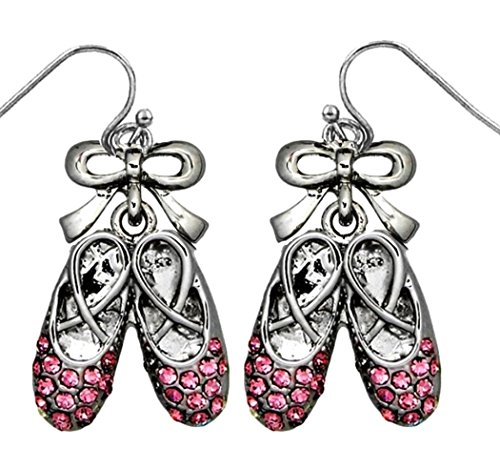 DianaL Boutique Silver Tone Pink Crystal Ballet Ballerina Dancer Shoe Slipper Pointe Earrings