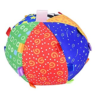 Tnfeeon Baby Hand Grip Ball Toy, Baby Hand Grip Colorful Ball Music Feeling Ball Bell Sensory Toy with Colors Developmental Fabric Ball Children Kids Educational Fun Ball Toy