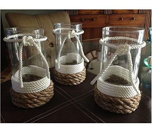 Beach Wedding Centerpieces - Candle holder decorated with twisted cotton rope and burlap rope - Nautical theme - beach wedding table centerpiece,Thanksgiving decor,table centerpiece,flower vase,Rustic decor,Christmas deco-on sale