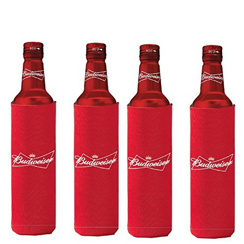 Slim Botella de cerveza Budweiser 16oz Koozie Coolie Hugie Agua–Pack de 4
