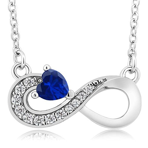 Gem Stone King 0.62 Ct Heart Shape Blue Simulated Sapphire 925 Sterling Silver Infinity Necklace
