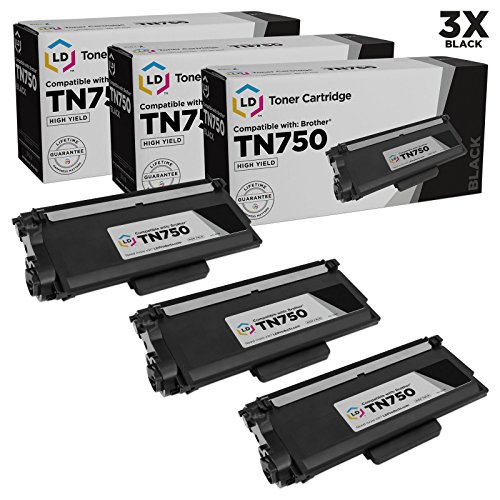 LD Compatible Toner Cartridge Replacement for Brother TN750 High Yield (Black, 3-Pack)