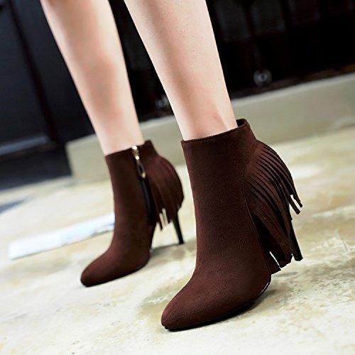 ZQ@QX Sugerencia de la semana para la multa y los zapatos de tacón alto y su elegante botas wild side zip, botas cortas botas hembra brown