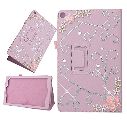 Photo - KAKA(TM) 3D Handmade Rhinestone Coloful Crystal PU Leather Stand Folding Protective Tablet Case Cover For Amazon Kindle Fire HD 10 Inch Display Tablet (2015 Release Only) Pink