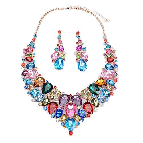 Crystal Open Heart Necklace - LOVFASHION Bib Jewelry Set, Australian Crystal Colorful Rhinestone Necklace Dangle Earrings Set for Women Girls Weddings Gifts